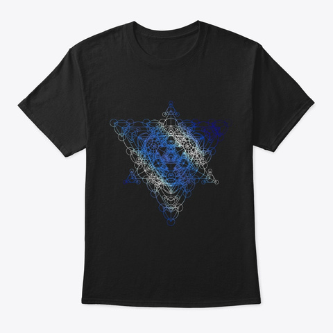 Sacred Geometry Super Tesseract Black T-Shirt Front