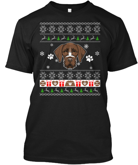 Xmas Sweater German Wirehaired Pointer Black T-Shirt Front