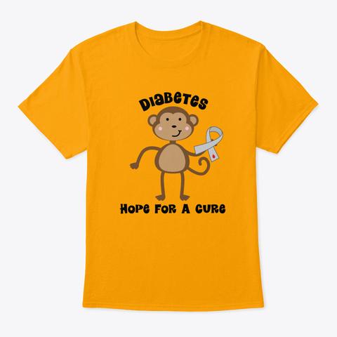Diabetes Awareness Ribbon Type 1 Suppor Gold T-Shirt Front