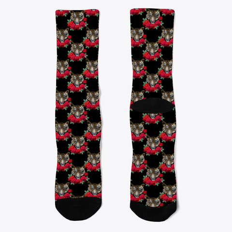 Red Rose Tiger Socks Black T-Shirt Front