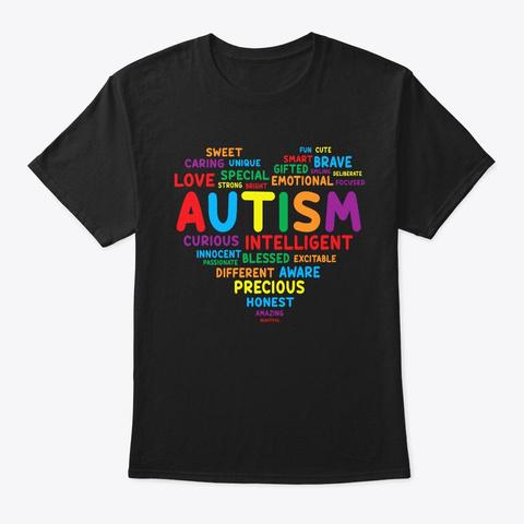 Autism Awareness Shirts Autism Heart  Black T-Shirt Front