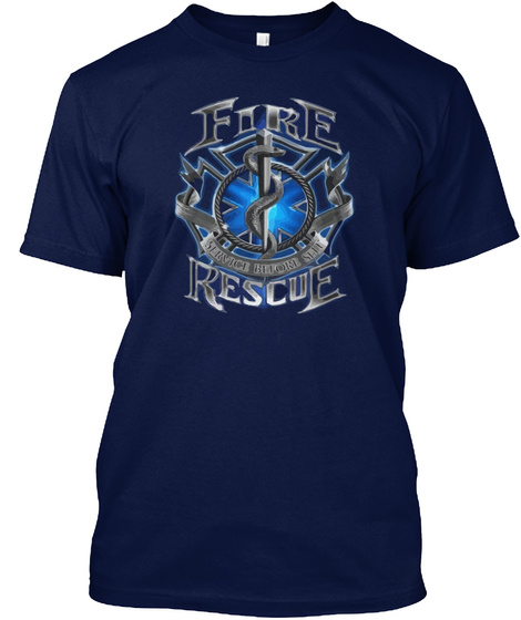 Fire Rescue  Navy T-Shirt Front
