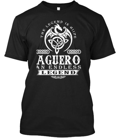 The Legend Is Alive Aguero An Endless Legend Black T-Shirt Front