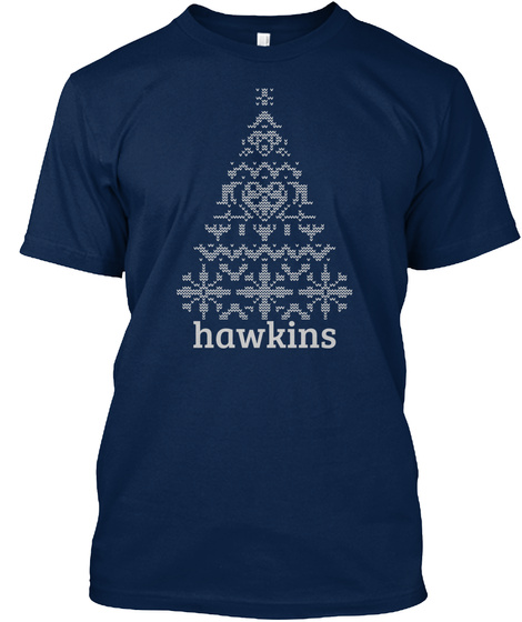 Hawkins Knitted Christmas Tree Navy T-Shirt Front