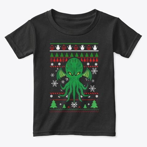 Cthulhu Ugly Christmas Sweater T Shirt Black T-Shirt Front