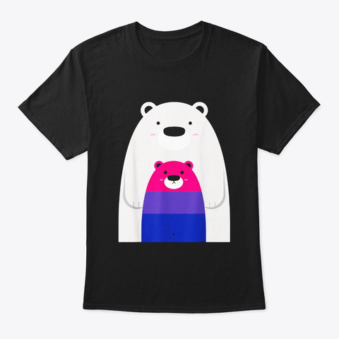 Mama And Baby Bear Shirt Lgbt Bisexual Black T-Shirt Front