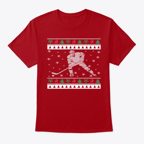 Funny Ice Hockey Ugly Christmas T Shirt Deep Red T-Shirt Front