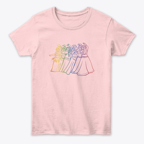 Rainbow Belly Dancers  Light Pink T-Shirt Front