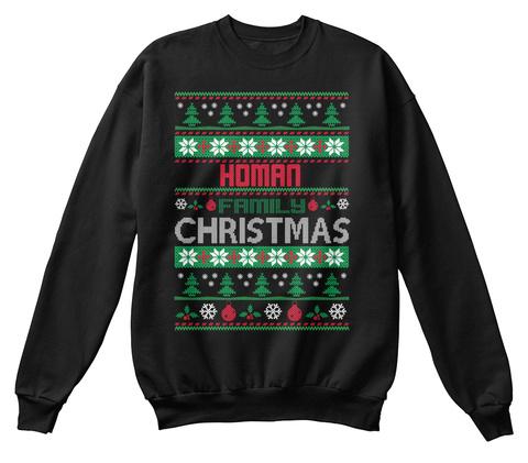 Homan Family Christmas Black T-Shirt Front
