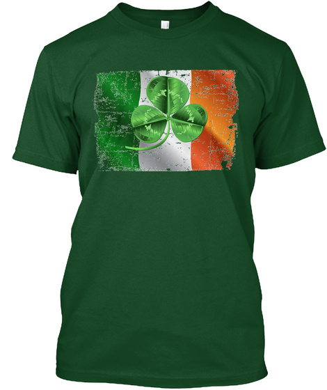 St. Patrick's Day 2018 Irish Flag Deep Forest T-Shirt Front