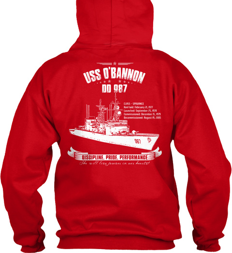 Uss Obannon 00987 Discipline Pride Performance Red T-Shirt Back