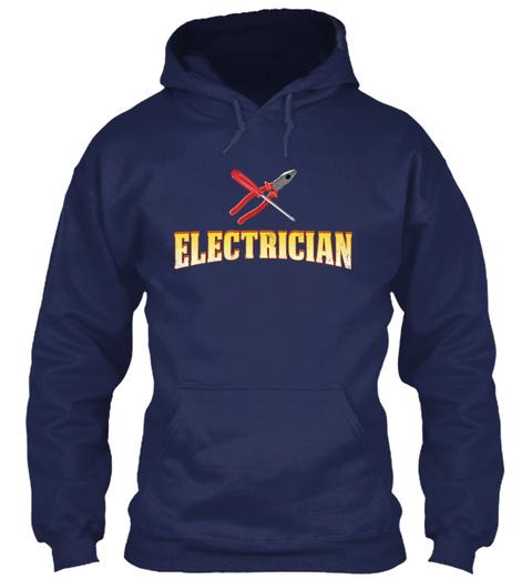 Electrician Run On Caffeine N Sarcasm Navy T-Shirt Front