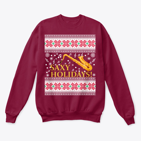 Saxophone Ugly Christmas Sweater Cardinal  T-Shirt Front