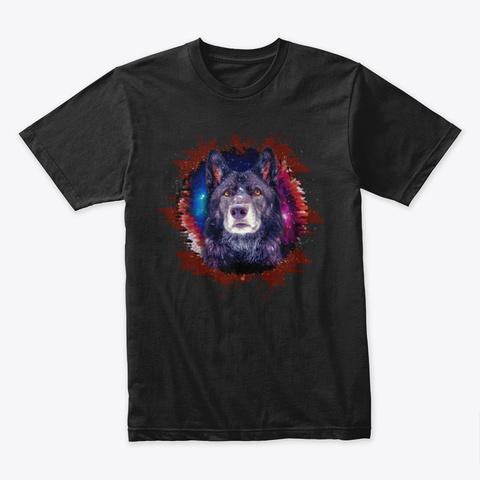 Luna The Wolfdog   Face Design Black T-Shirt Front