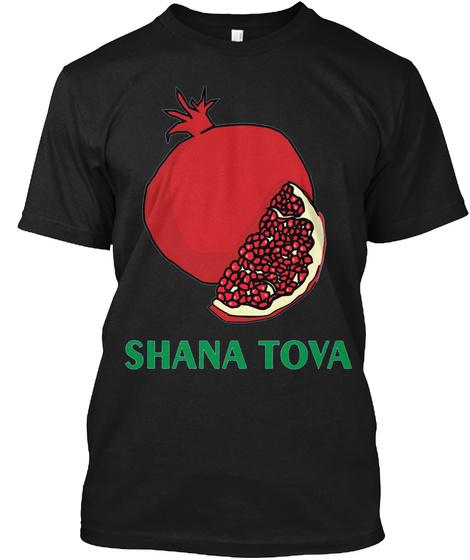 Rosh Hashanah T Shirt Shana Tova Jewish Holiday Gift Black T-Shirt Front