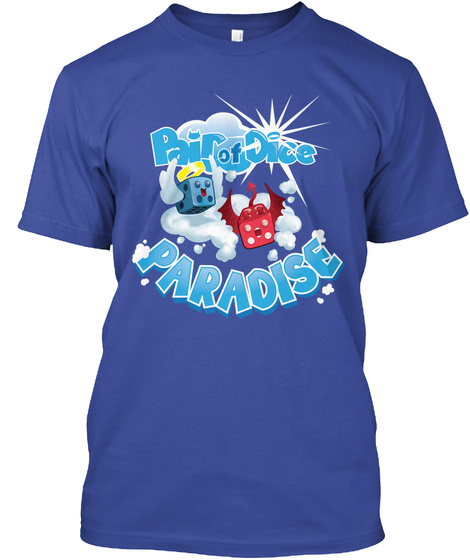 Bouncy Clouds   Pair Of Dice Paradise Deep Royal T-Shirt Front