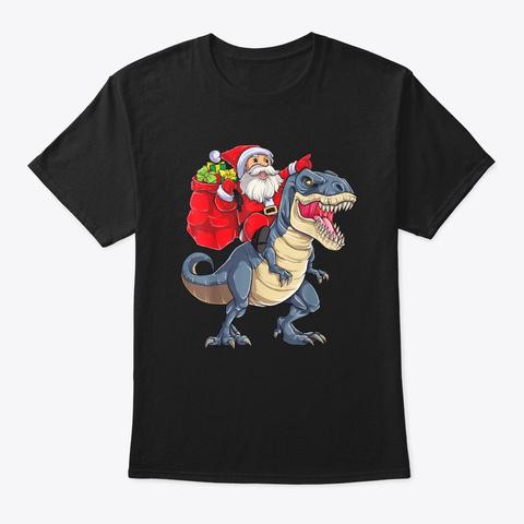 Funny Santa Riding Dinosaur Christmas Black T-Shirt Front