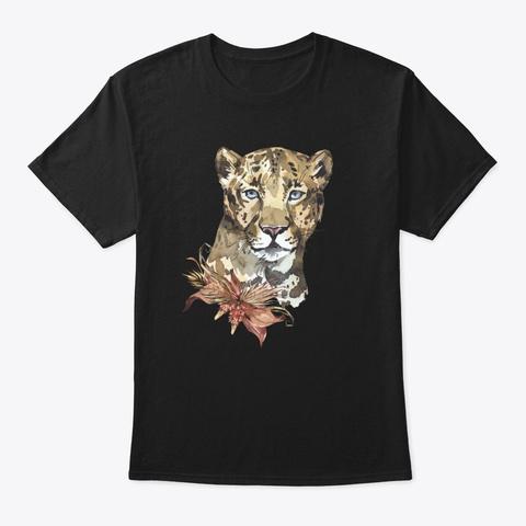Leopard Portrait With Flowers Black T-Shirt Front
