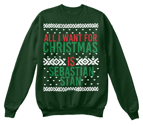 Christmas Sebastian Stan Ugly Sweaters Deep Forest  T-Shirt Front