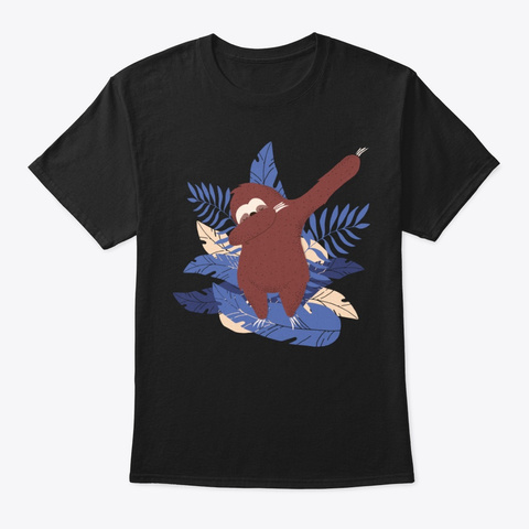 Dabbing Sloth Tropical Themed Background Black T-Shirt Front