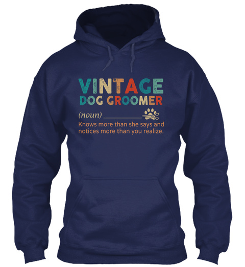 Vintage Dog Groomer Navy T-Shirt Front
