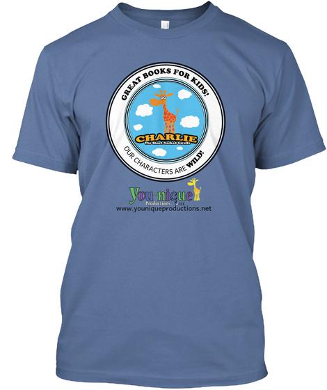 Great Books For Kids! Charlie Denim Blue T-Shirt Front