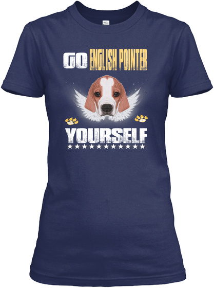 Go English Pointer Yourself Navy T-Shirt Front