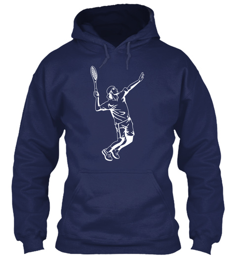 Hoodie Tennis Player Navy T-Shirt Front