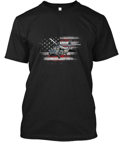 Uh 60 Black Hawk Helicopter Vintage Flag Black T-Shirt Front