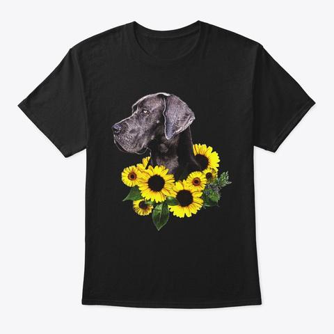 Sunflower Great Dane Dog Shirt Black T-Shirt Front