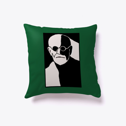 Freud Head Black And White  Dark Green T-Shirt Front