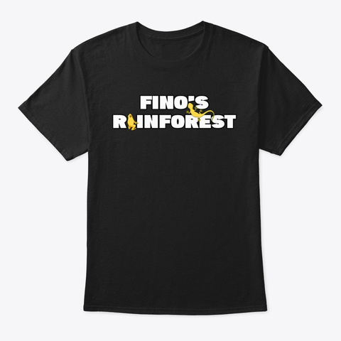 Fino's Rainforest T Shirt Design #1 Black T-Shirt Front