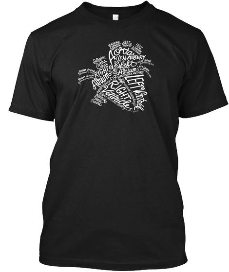 Anatomical Heart White Word Art Medical Tshirt For Caretaker Black T-Shirt Front