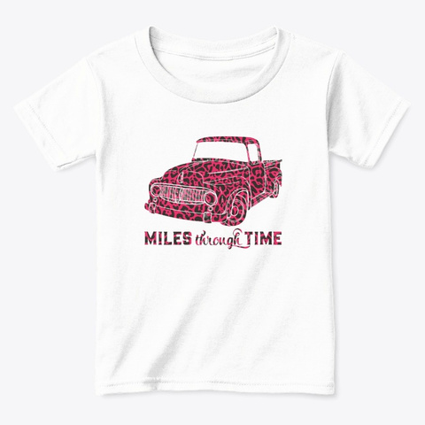Pink Print Truck White  T-Shirt Front