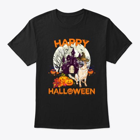 Pumpkin German Shepherd Halloween Dog Black T-Shirt Front