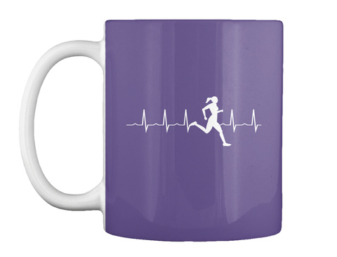 Woman Runner Heartbeat Mugs Purple T-Shirt Front