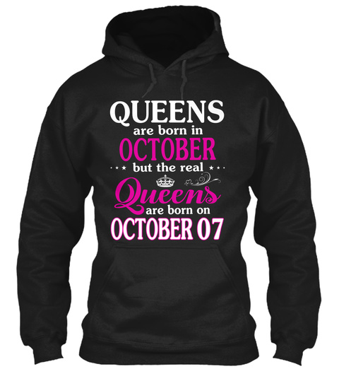 Real Queen Are Born On 7 October Black T-Shirt Front