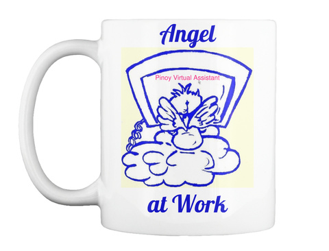 Angel Pinoy Virtual Assistant At Work White T-Shirt Front