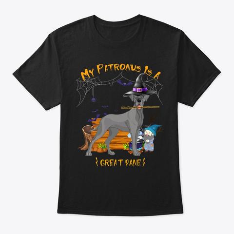 Great Dane Patronus Halloween Black T-Shirt Front