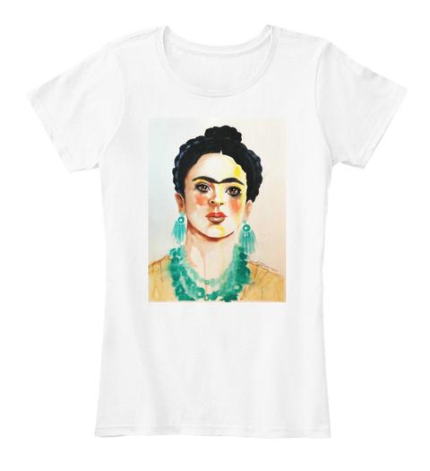Turquoise Frida White T-Shirt Front
