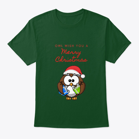 Funny Owl Christmas Design Deep Forest T-Shirt Front