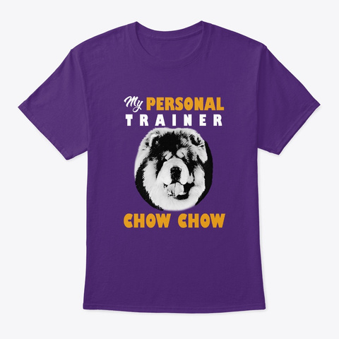 Personal Trainer Is Chow Chow T Shirt Purple T-Shirt Front