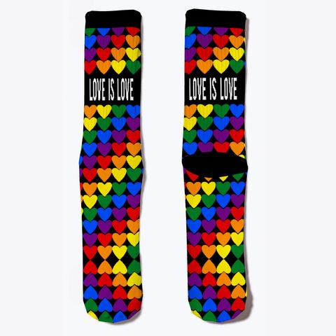 Love Is Love   Cute Rainbow Pride Socks Black T-Shirt Front