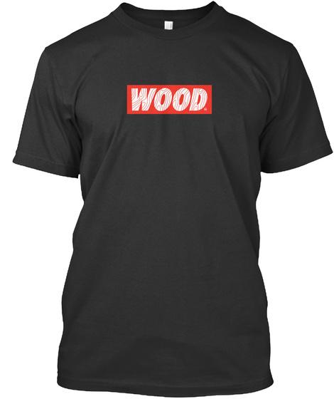 Wood Black T-Shirt Front