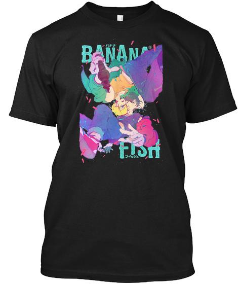 Banana Fish Typo Poster Black T-Shirt Front