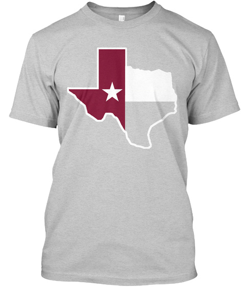 Tsu Texas Flag  Light Steel T-Shirt Front