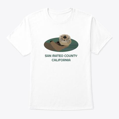 San Mateo County Ca Otter Pnw Tribal White T-Shirt Front