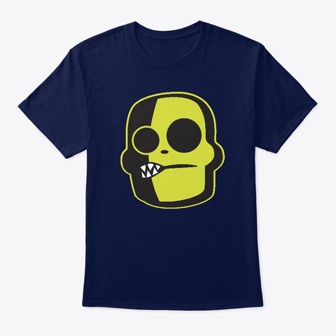 Stylized Zombie Graphic Growl Face Navy T-Shirt Front