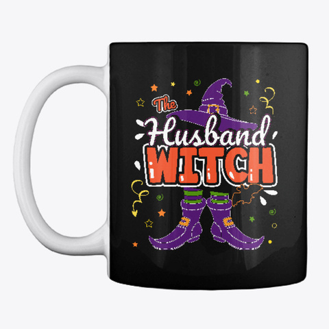 Husband Witch Halloween Group Matching Black T-Shirt Front