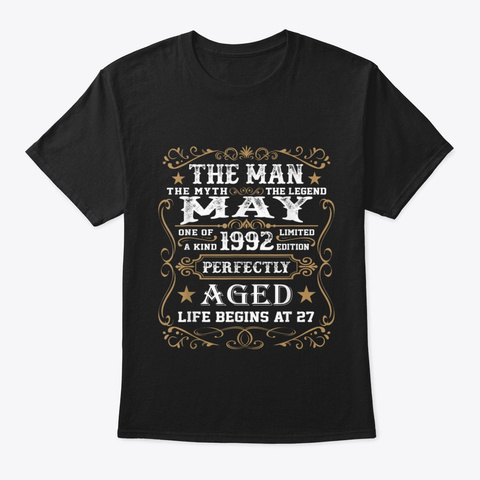 27th Birthday Gift The Man Myth Legend Black T-Shirt Front